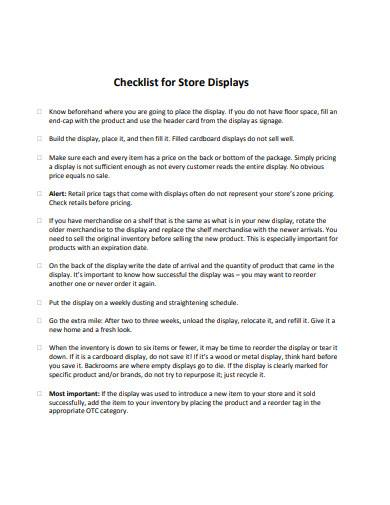 checklist for store displays
