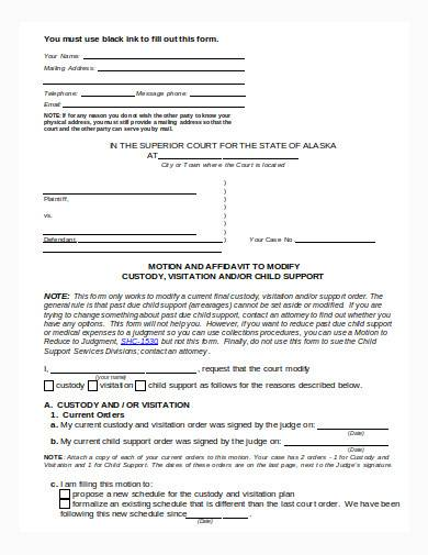 child custody form in doc