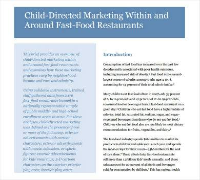child directed fast food marketing proposal