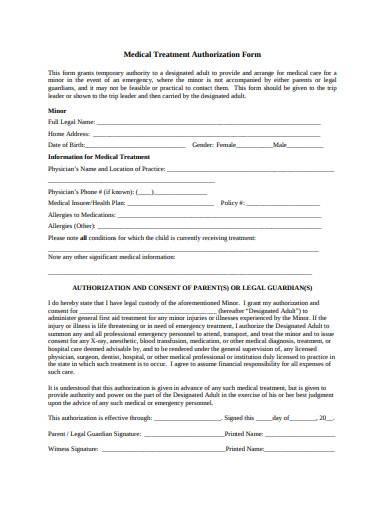 child medical treatment authorization form