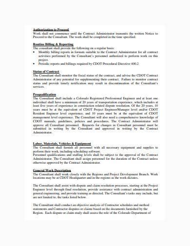 claim consultant scope of work example