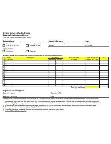 FREE 10+ Expense Reimbursement Form Samples in PDF | DOC ...