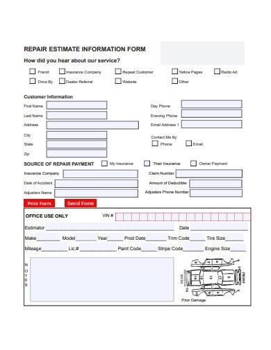 collision repair estimate sample in pdf
