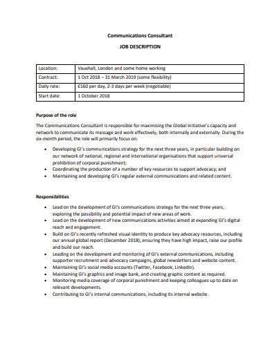 communications consultant job description sample
