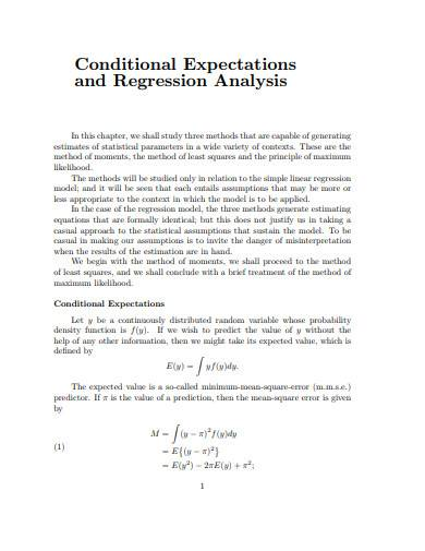 conditional expectations and regression analysis