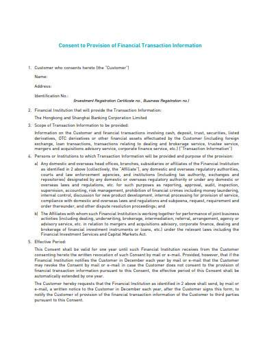 consent to provision of financial transaction information