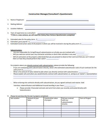 construction manager questionnaire