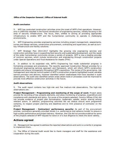 construction project audit report