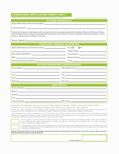 consultant application form example