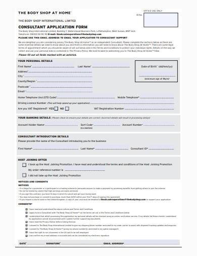 consultant application form sample