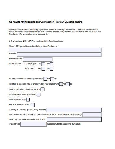 consultant contractor review questionnaire