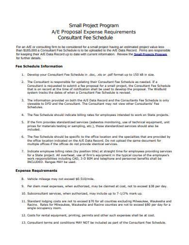 consultant fee schedule