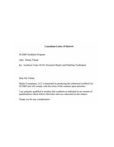 consultant letter of interest