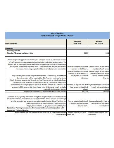 consultant master fee schedule