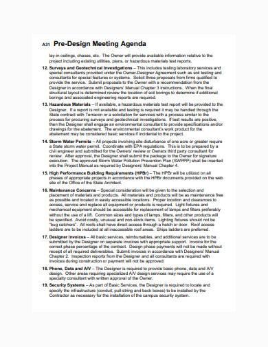 consultant pre design meeting agenda sample