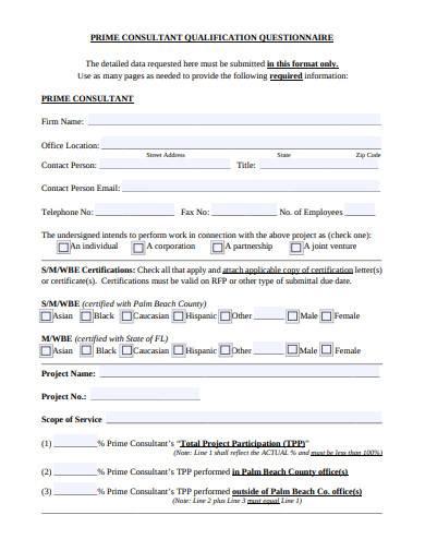 consultant qualification questionnaire