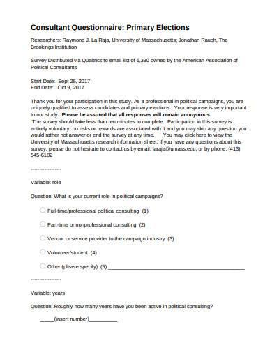 consultant questionnaire