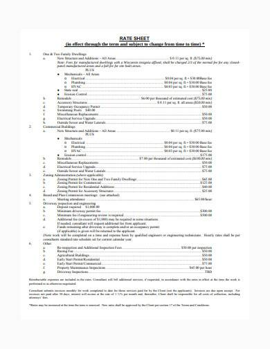 consultant rate sheet in pdf