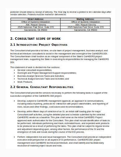 consultant scope of work in doc