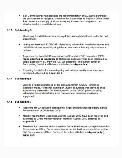 consultant work status report sample