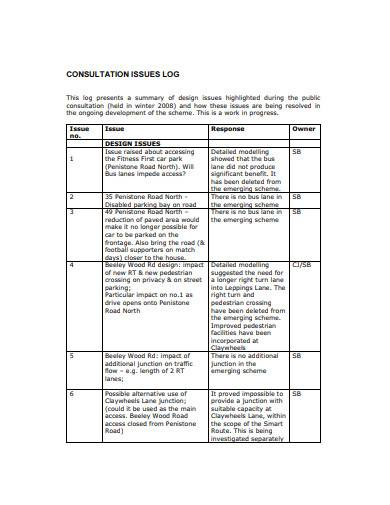 consultation issues log template