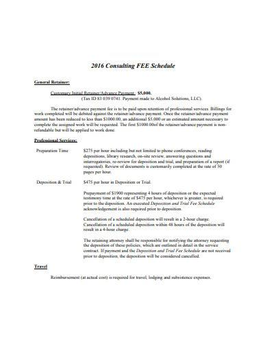 consulting fee schedule