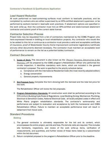 contractor handbook and qualifications application