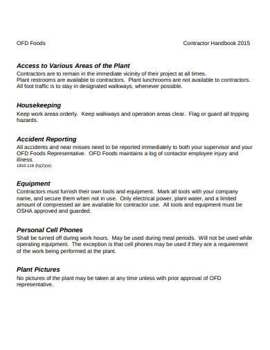 contractor handbook in pdf
