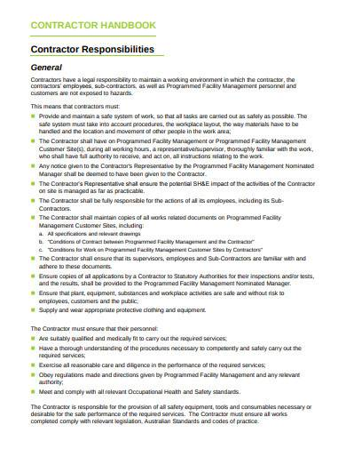 contractor responsibilities handbook