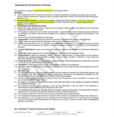 contractors agreement for the provision of service in pdf
