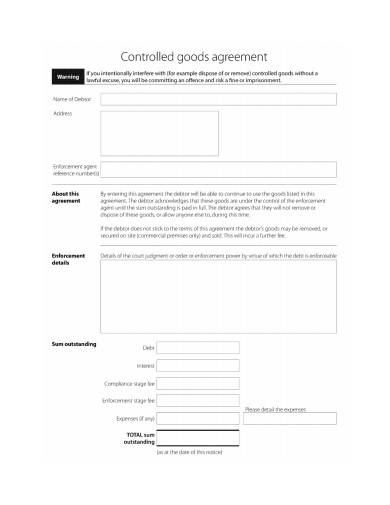 controlled goods agreement sample in pdf