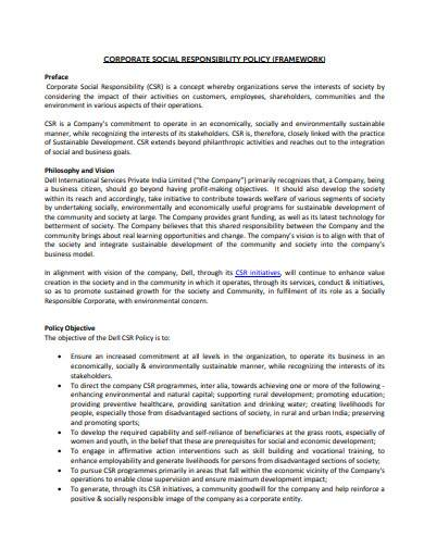 corporate social responsibility policy framework