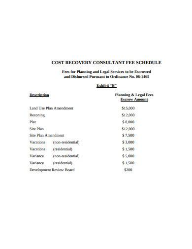 cost recovery consultant fee schedule