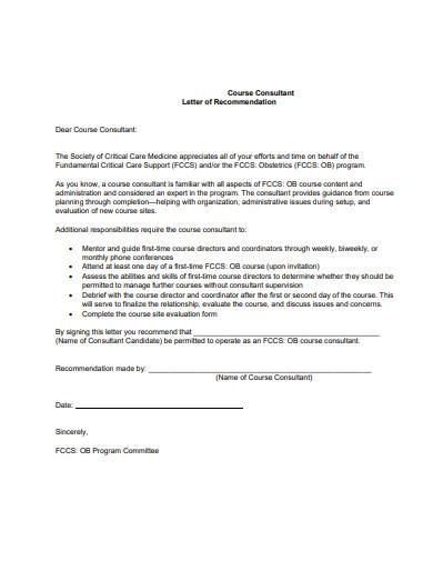 course consultant letter of recommendation