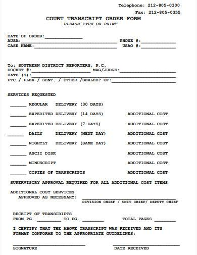 court transcript order form sample