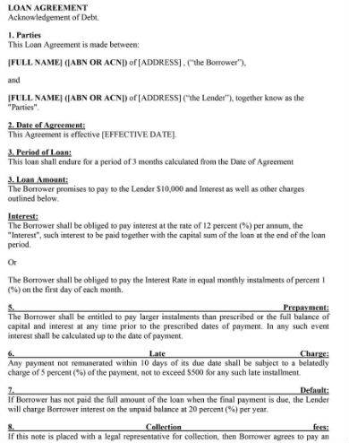 credit loan agreement sample in doc