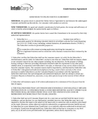credit service agreement sample in pdf