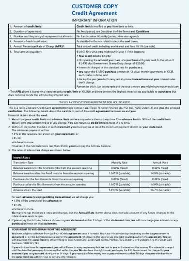 customer credit agreement sample in pdf