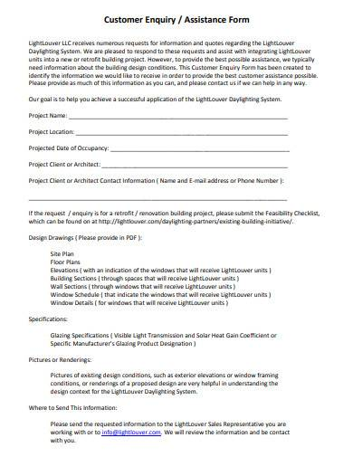 customer enquiry assistance form