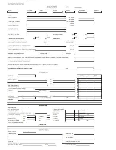 customer information enquiry form
