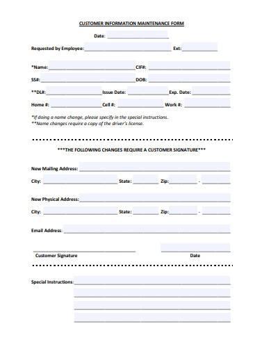 customer information maintenance form
