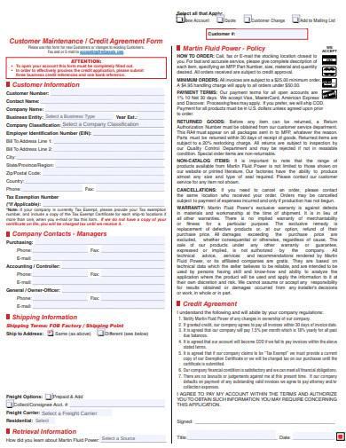 customer maintenance credit agreement form
