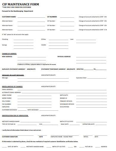 customer maintenance form in pdf