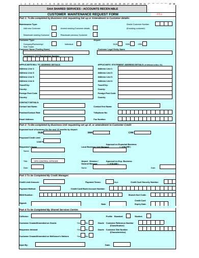 customer maintenance request form
