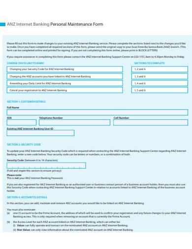customer personal maintenance form