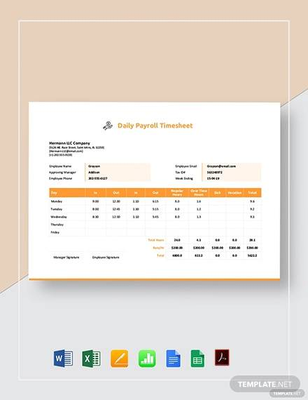daily payroll timesheet template