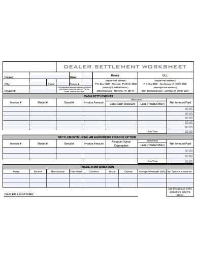 dealer settlement worksheet