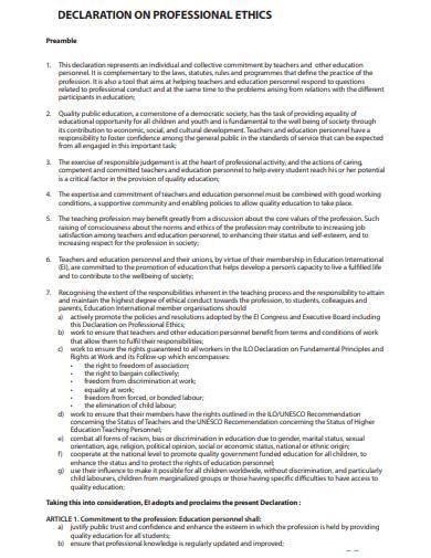 declaration on professional ethics