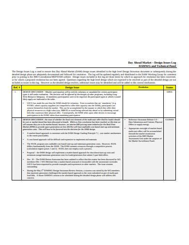 design issues log sample