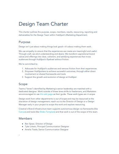 design team charter template